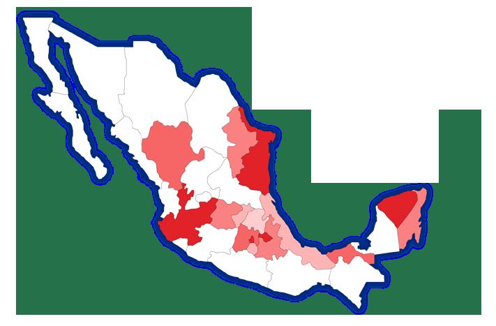 Mapa de distribución de Aceros Crea